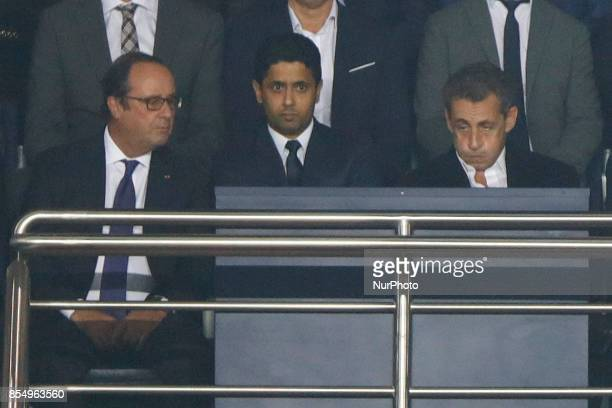 Nasser AlKhelaifi President of PSG Paris and Formers French Presidents Francois Hollande and Nicolas Sarkozy look on prior to the UEFA Champions...