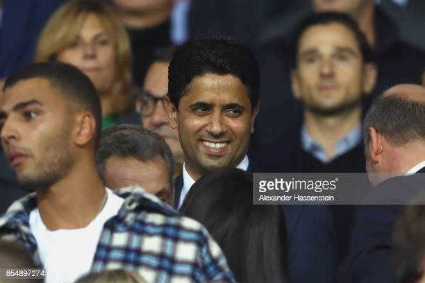 Nasser AlKhelaifi President of PSG Paris looks on prior to the UEFA Champions League group B match between Paris SaintGermain and Bayern Muenchen at...