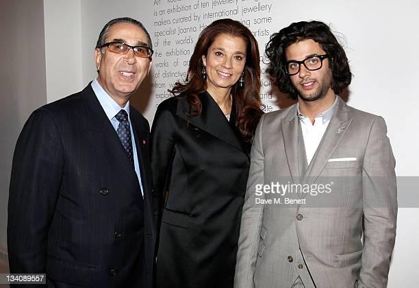 Nasser D Khalili Marion Khalili and Benjamin Khalili attend a private viewing of 'Art Rocks Contemporary Jewellery' at Shizaru Gallery on November 24...