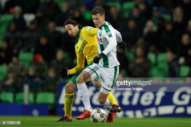 Nasser El Khayati of ADO Den Haag Ajdin Hrustic of FC Groningen during the Dutch Eredivisie match between FC Groningen v ADO Den Haag at the...