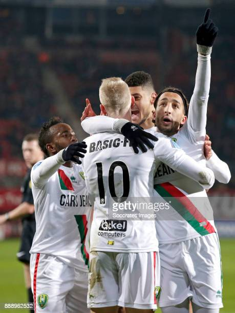 Nasser El Khayati of ADO Den Haag celebrates 1-1 with Elson Hooi of ADO Den Haag, Lex Immers of ADO Den Haag, Bjorn Johnsen of ADO Den Haag during...