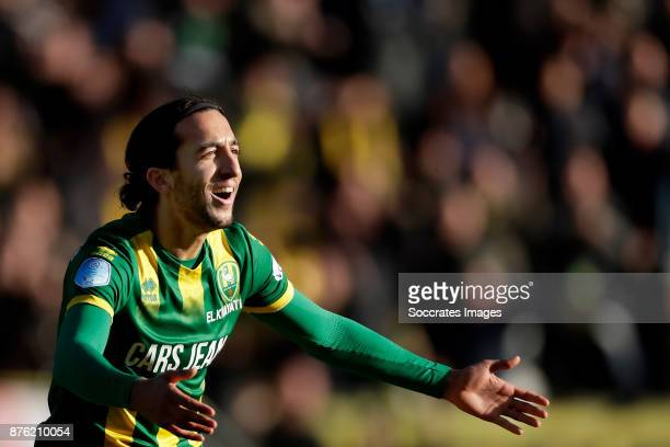 Nasser El Khayati of ADO Den Haag celebrates 21 during the Dutch Eredivisie match between ADO Den Haag v Heracles Almelo at the Cars Jeans Stadium on...