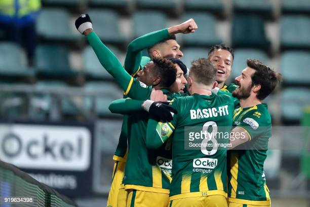 Nasser El Khayati of ADO Den Haag celebrates 21 with Sheraldo Becker of ADO Den Haag Bjorn Johnsen of ADO Den Haag Aaron Meijers of ADO Den Haag...