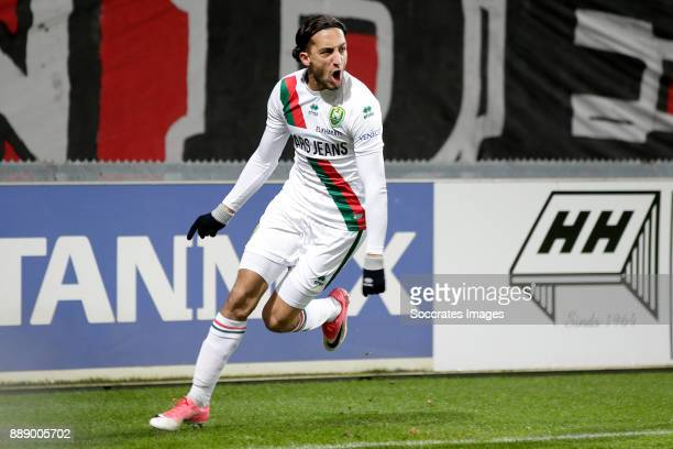 Nasser El Khayati of ADO Den Haag celebrates 2-3 during the Dutch Eredivisie match between Fc Twente v ADO Den Haag at the De Grolsch Veste on...