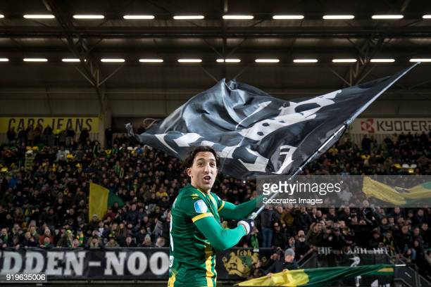Nasser El Khayati of ADO Den Haag celebrates the victory during the Dutch Eredivisie match between ADO Den Haag v Willem II at the Cars Jeans Stadium...
