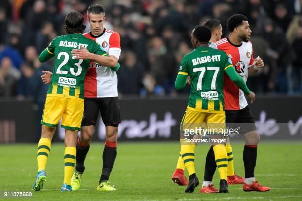 Nasser El Khayati of ADO Den Haag Robin van Persie of Feyenoord Elson Hooi of ADO Den Haag Tonny Vilhena of Feyenoord during the Dutch Eredivisie...