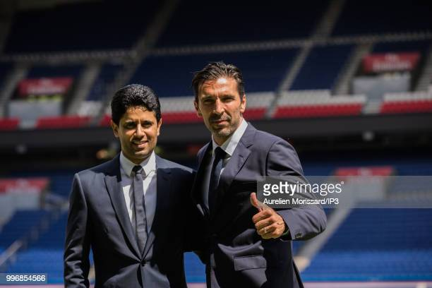 Nasser El Khelaifi PSG President during the press conference introducing the new player from Paris Saint Germain former Juventus and Italian...
