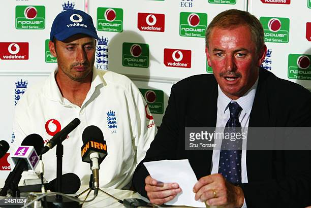 Nasser Hussain of England announces his resignation as England captain with chairman of selectors David Graveney at the end of the fifth day of the...