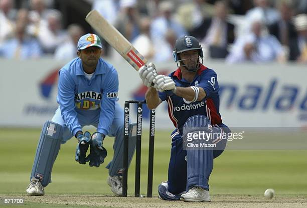 Nasser Hussain of England attacks the Indian bowling during the match between England and India in the NatWest One Day Series at Lord's in London...