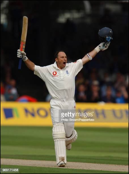 Nasser Hussain of England celebrates reaching his century during his innings of 155 in the 1st Test match between England and India at Lord's Cricket...