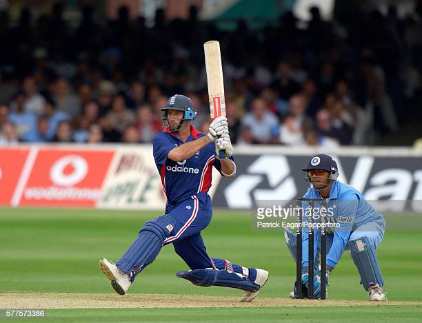 Nasser Hussain of England prepares to reverse sweep during his innings of 115 in the NatWest Series One Day International Final between England and...
