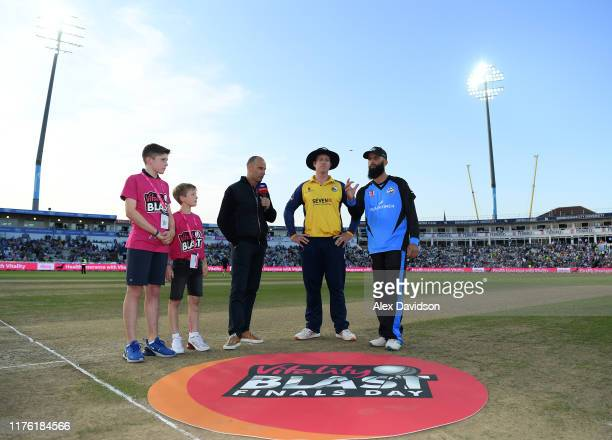 Nasser Hussain of Sky Sports Simon Harmer of Essex Eagles and Moeen Ali of Worcestershire Rapids at the toss during the Vitality T20 Blast Final...
