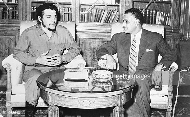 Nasser Meets with Cuban Cairo Egypt United Arab Republic President Nasser meets with Cuban representative Ernesto Guevara at the presidential palace...