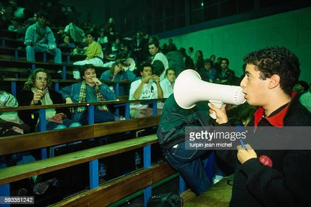 Nasser Ramdane spokesman for the 'Coordination Lyceenne' attends a national high school coordination general assembly following the unpopular loi...