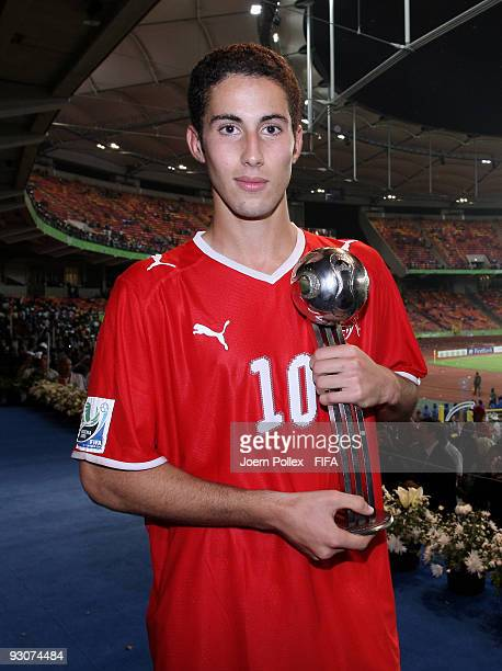 Nassim Ben Khalifa of Switzerland is pictured with the Silver Ball Trophy after the FIFA U17 World Cup Final between Switzerland and Nigeria at the...