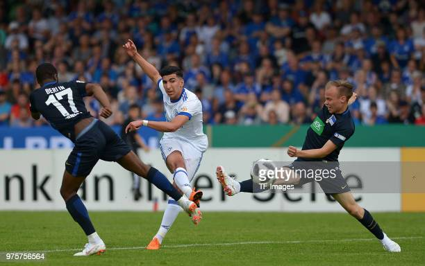 Nassim Boujellab of Schalke and Max Mulack of Hertha battle for the ball during the German A Juniors Championship final match between FC Schalke 04...