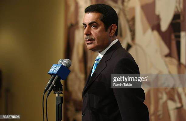 Nassir Abdulaziz AlNasser Qatar ambassador to the United Nations speaks to the media after a closed door UN Security Council consultation on the...