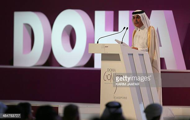 Nassir Abdulaziz AlNasser UN High Representative for the Alliance of Civilisations talks during the official opening ceremony of the Doha Goals...
