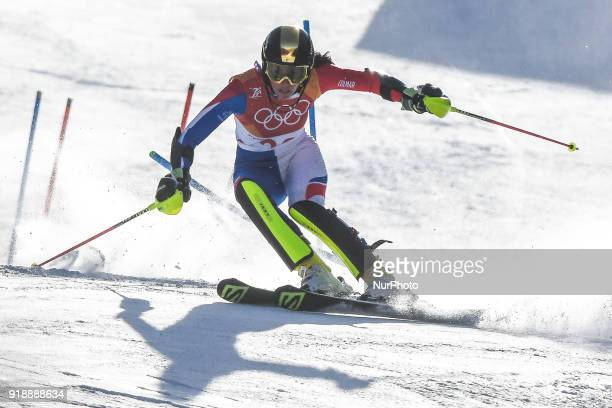 Nastasia Noens of France competing in womens final in slalom at Yongpyong Alpine Centre Pyeongchang South Korea on February 16 2018