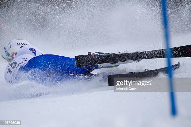 Nastasia Noens of France crashes out of the race whilst competing in the Audi FIS Alpine Ski World Cup Slalom Race on December 29 2012 in Semmering...