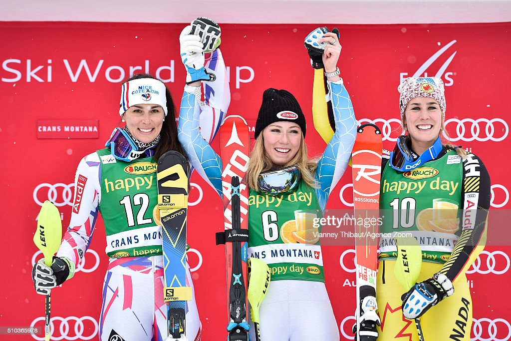 Nastasia Noens of France takes 2nd place, Mikaela Shiffrin of the USA takes 1st place and Marie-Michele Gagnon of Canada takes 3rd place during the Audi FIS Alpine Ski World Cup Women's Slalom on February 15, 2016 in Crans Montana, Switzerland.