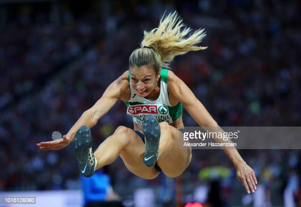 Nastassia MironchykIvanova of Belarus competes in the Women's Long Jump Final during day five of the 24th European Athletics Championships at...