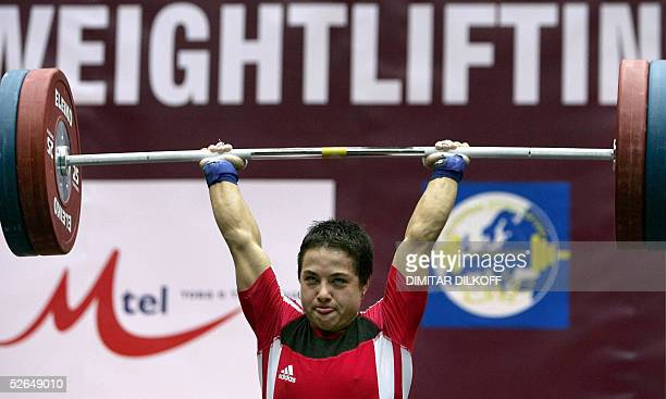 Nastassia Novikava of Belarus lifts for the gold medal in the women's 53 kg during the European Weightlifting Championship in Sofia 19 April 2005...