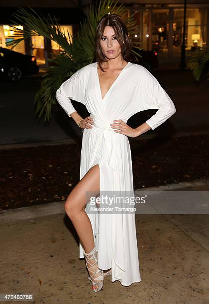 Nastassja Bolivar poses at Studio LX during the clothing launch of Chiquinquira Delgado in collaboration with David Lerner on May 7 2015 in Miami...