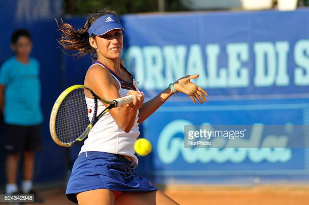 Nastassja Burnett about to play a forehand during her opening match at the WTA XXVI Italiacom Tennis Open in Palermo on July 11 2013 Photo Guglielmo...
