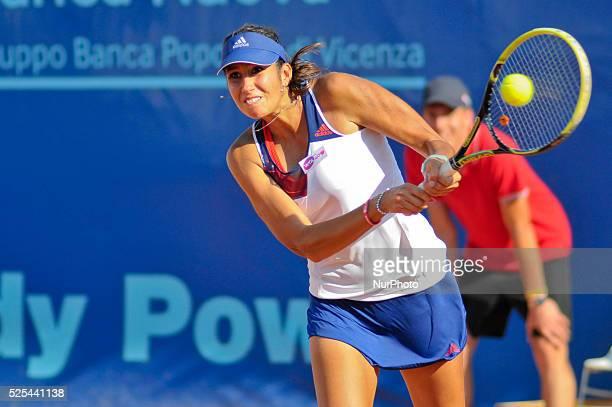 Nastassja Burnett hitting a backhand during her opening match at the WTA XXVI Italiacom Tennis Open in Palermo on July 11 2013 Photo Guglielmo...