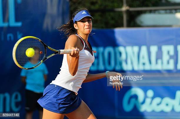 Nastassja Burnett hitting a forehand during her opening match at the WTA XXVI Italiacom Tennis Open in Palermo on July 11 2013 Photo Guglielmo...