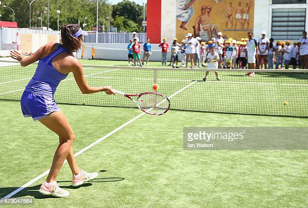 Nastassja Burnett of Italy meets young tennis fans on Day Three of the The Internazionali BNL d'Italia 2015 at the Foro Italico on May 12 2015 in...