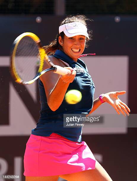 Nastassja Burnett of Italy plays a forehand in her match against Johanna Larsson of Sweden during day one of the Internazionali BNL d'Italia 2012...