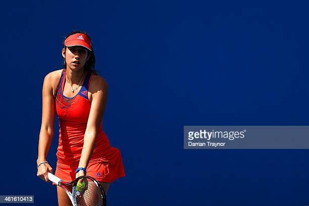 Nastassja Burnett of Italy prepares to serve during qualifying for the 2014 Australian Open at Melbourne Park on January 10 2014 in Melbourne...