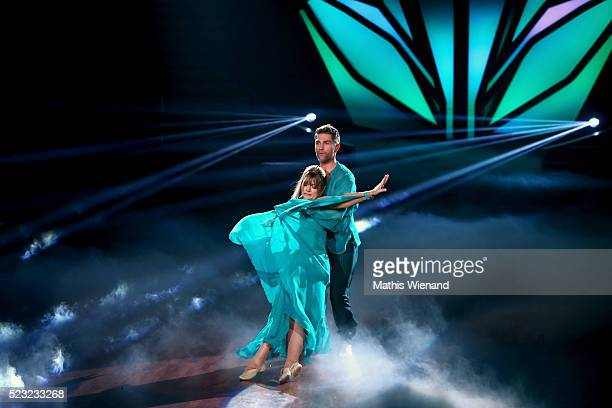 Nastassja Kinski and Christian Polanc perform on stage during the 6th show of the television competition 'Let's Dance' on April 22 2016 in Cologne...