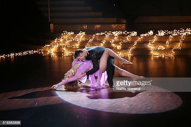 Nastassja Kinski and Christian Poland perform on stage during the 2nd show of the television competition 'Let's Dance' on March 18 2016 in Cologne...