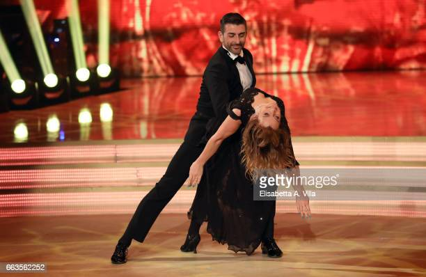 Nastassja Kinski and her dance partner Simone Di Pasquale perform on the Italian TV show 'Ballando Con Le Stelle' at Auditorium Rai on April 1 2017...