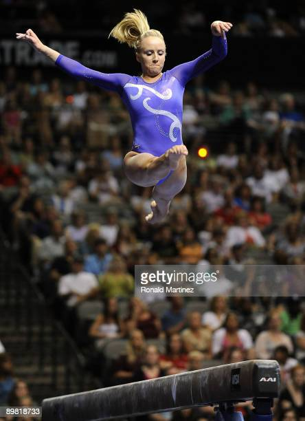 Nastia Liukin competes on the beam during day four of the Visa Gymnastics Championships at the American Airlines Arena on August 15 2009 in Dallas...