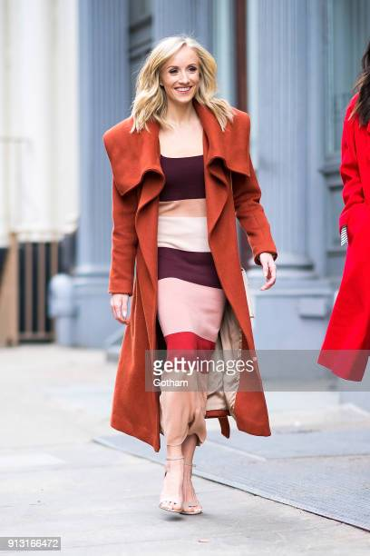 Nastia Liukin is seen wearing a Ronny Kobo dress with Steve Madden shoes and a Zac Posen handbag in Tribeca on February 1 2018 in New York City