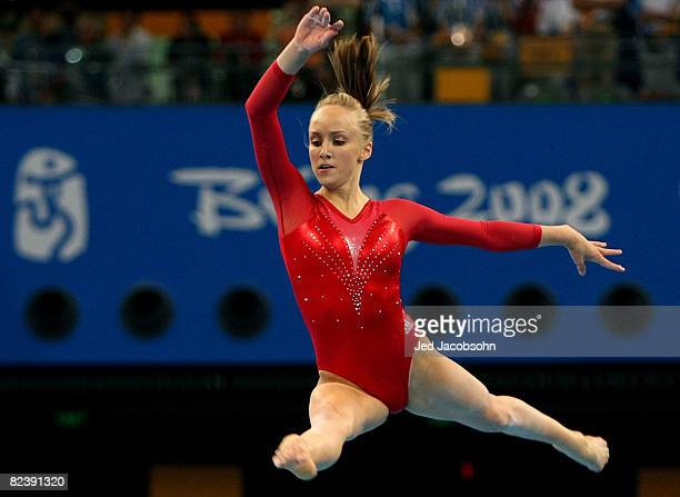 Nastia Liukin of the United States competes in the women's individual floor final in the artistic gymnastics event held in National Indoor Stadium on...