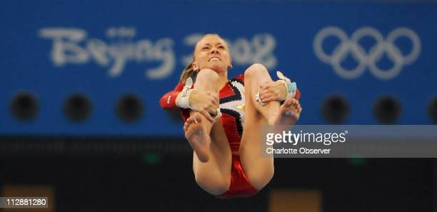 Nastia Liukin of the United States competes on the uneven bars during qualifying rounds on Sunday August 10 during the Games of the XXIX Olympiad in...