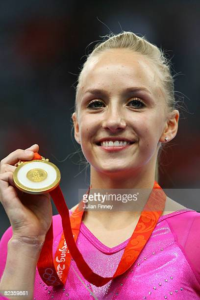 Nastia Liukin of the United States looks on after winning the gold medal in the women's individual all-around artistic gymnastics final at the...