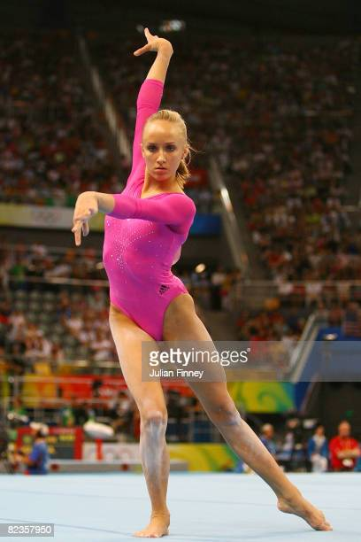 Nastia Liukin of the United States performs her floor exercise during the women's individual all-around artistic gymnastics final at the National...