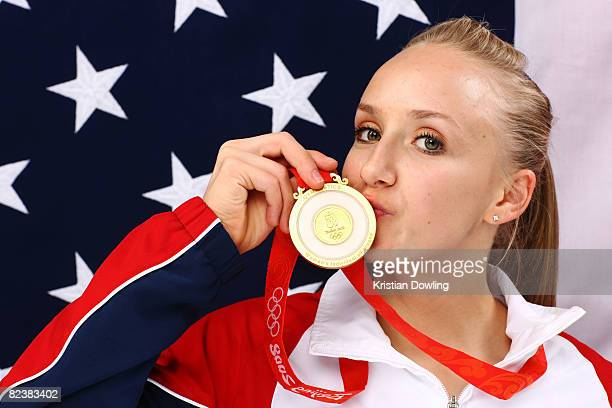 Nastia Liukin of the United States poses with her gold medal after winning the Women's all around Gymnastics event in the NBC Today Show Studio at...