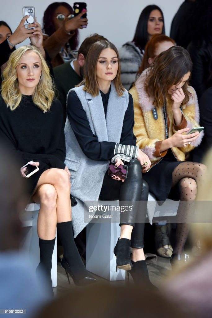 Nastia Liukin, Olivia Palermo, and Alexa Chung attend the front row for Noon by Noor during New York Fashion Week: The Shows at Gallery II at Spring Studios on February 8, 2018 in New York City.