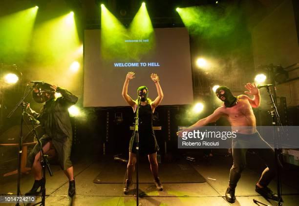 Nastya Awott Maria Alyokhina and Kiryl Masheka of Pussy Riot perform on stage at Summerhall during Edinburgh Festival Fringe on August 10 2018 in...