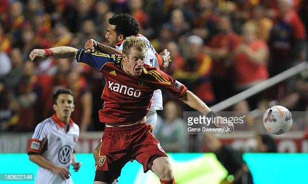 Nat Borchers of Real Salt Lake deflects the ball away from Chris Pontius of DC United at Rio Tinto Stadium October 1 2013 in Sandy Utah