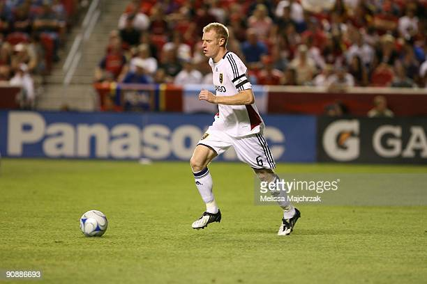 Nat Borchers of Real Salt Lake kicks the ball against the Chicago Fire at Rio Tinto Stadium on September 12 2009 in Sandy Utah