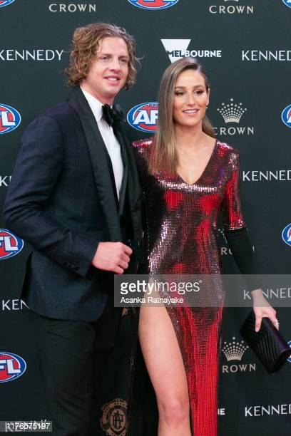Nat Fyfe of the Dockers and Eleanor Bradshaw arrives ahead of the 2019 Brownlow Medal at Crown Palladium on September 23 2019 in Melbourne Australia