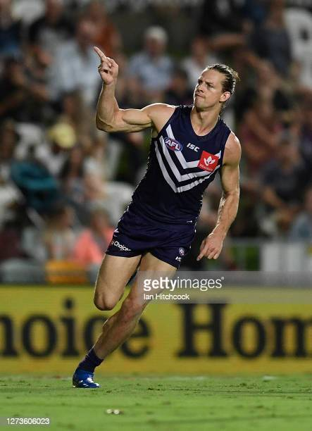Nat Fyfe of the Dockers celebrates after scoring a goal during the round 18 AFL match between the Fremantle Dockers and the Western Bulldogs at...